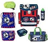 Fußball Schulranzen Set 7-teilig mit Federmappe, Brotdose/Trinkflasche, Regen/Sicherheitshülle PL