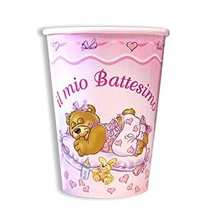 Magic Party BE03-Vaso de papel bautizo 200cc, Paquete de 10unidades), Rosa