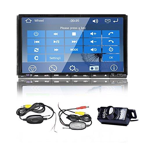 Modell Satellite (WinCE 8.0 OS Modell 7-Zoll doppel DIN In Dash Satellite GPS Car Stereo-CD-DVD-Spieler Navigation Bluetooth und freies GPS-Diagramm Autoradios Video Touch Screen mit USB / SD / AM / FM / Aux + Kostenloses W-R¨¹ckfahrkamera)