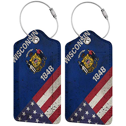 Wisconsin USA Flag Retro Leather Travel Luggage Tag Suitcase ID Tags Baggage Bag Tag Labels 2 PCS 00df6858