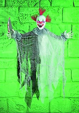 Halloween Grusel Clown, batteriebetrieben, mit Licht, Sound und Bewegung, 61cm
