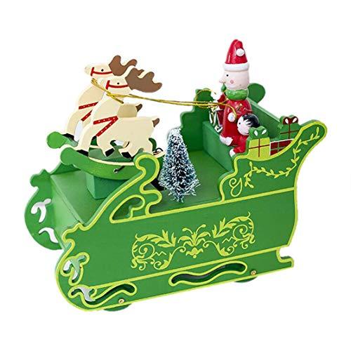 Happy Event - Carillon in Legno con Babbo Natale e Pupazzo di Neve
