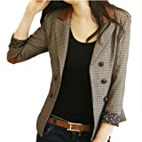VOBAGA Femme Vestes Vintage Double Breasted Slim Blazer Costume Jacket
