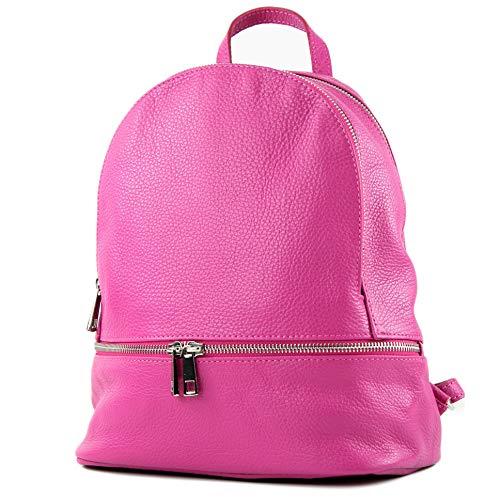 modamoda de - ital Damen Rucksacktasche aus Leder T137-Leder, Präzise Farbe:T137Leder-Pink