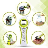 STRIR Abrelatas multifunción,Diseño de acero inoxidable y mangos ergonómicos antideslizantes (Creatividad 5 en 1) (Verde)
