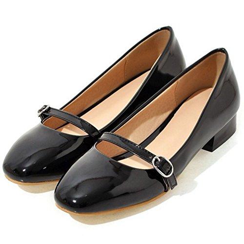 TAOFFEN Femme Classique Bout Ferme Rond Escarpins Bas A Enfiler Bloc Talon Bas Chaussures Mary Janes 67 noir