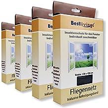 Mückennetze 130x150 cm 4er Pack - Premium - mit verbessertem selbst. Klebeband, Insektenschutz Fliegengitter, reißfest und witterungsbeständig in verschiedenen Ausführungen verfügbar (Schwarz/Premium)