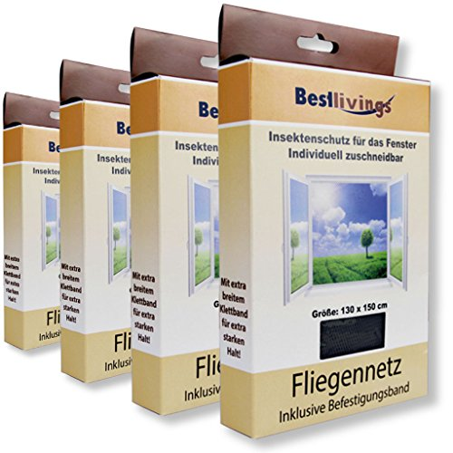 Bestlivings Mückennetz 4er Pack für Ihr Fenster 130x150 cm selbstklebend, in verschiedenen Ausführungen verfügbar (Schwarz/ *Premium*)