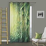 Soleil d 'Ocre Ösenvorhang Bambus, Polyester, Grün, 140x 260cm