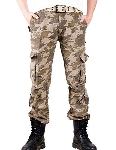 Feoya Herren Kampfhose Wasserwäsche Cargohose Mehrere Tasche Hosen aus Baumwolle Freizeithose Loose-Fit Outdoor Arbeitshosen in verschiedener Farben Tarnfarben Khaki