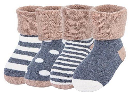 Y-BOA Lot 4 Paires Chaussette Sock Socquette Rayure Pois Bébé Coton Enfant Fille Garçon Souple Chaude Café 6-12mois