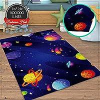 Veronya Uzay 5 Desen, Dokuma Halı,Kalın Çocuk Odası Halısı (80x200)