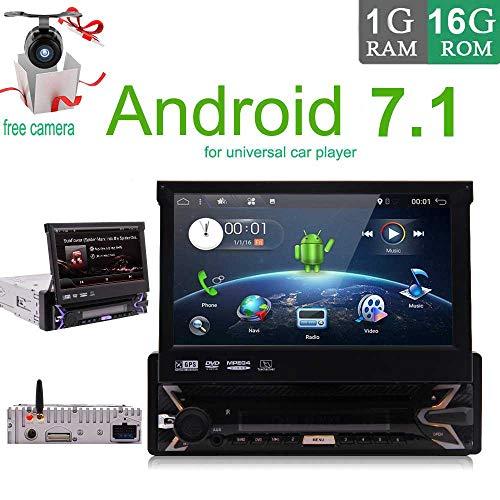 Android 7.1 4-Core-1GB 16GB Einzel Din 7 Zoll Touch Screen, MP3 / USB/SD/AM/FM Autoradio-7 Zoll-Digital-LCD-Monitor, abnehmbare Frontplatte, Wireless Remote, Multi-Color Illumination CD DVD-Pl (Auto-dvd-doppel-din-abnehmbare)