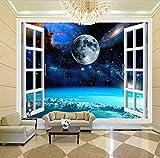 Anpassbare Größe Wandbild Tapete Foto 3D Fenster Raum Planet Erde Wandmalerei Schlafzimmer Wohnzimmer Von Einrichtungs Seidentuch 200X140 Cm