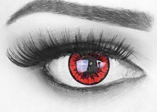 (Farbige Kontaktlinsen red black Crazy Fun Engel Angel Jahres Linsen. Topqualität ideal zu Fasching und Karneval mit gratis Kontaktlinsenbehälter.)