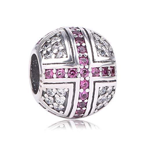 Necclecs s925 sterling silver purple cz croce rotonda charm bead viola zircone fit braccialetto di fascino collana gioielli