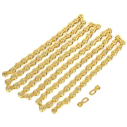 Fahrradkette, 11-Fach Fahrradkette Ultraleichte Hohlkette 116 Glieder Ersatzteile für Rennräder mit festem Gang Fahrräder Gold Fahrradkette