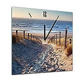 Bilderdepot24 Glasuhr Sonne, Strand und Meer - Schöner Weg zum Strand III - 40x40cm - Handmade in Berlin - Uhr aus Glas - Wanduhr aus Glas - 3D Optik - Analog - dekoratives Muster
