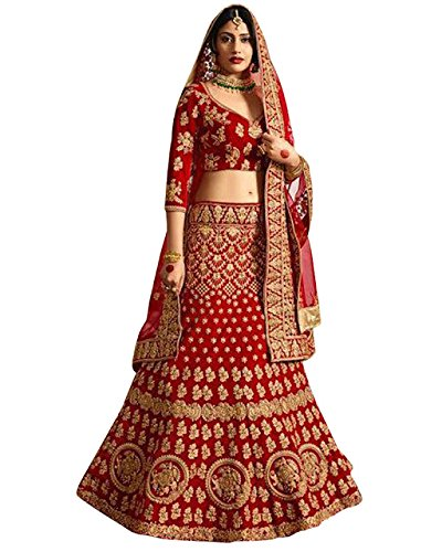 Swara Fashion Women's Banglori Silk With Blouse Piece Lehenga Choli(SFA-1661_Red)