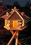 Vogelhaus Futterhaus Vogelvilla mit Solarbeleuchtung und Silo klein und Groß verschiedene Farben V16 (Rot, groß mit Ständer), Vogelfutterhaus
