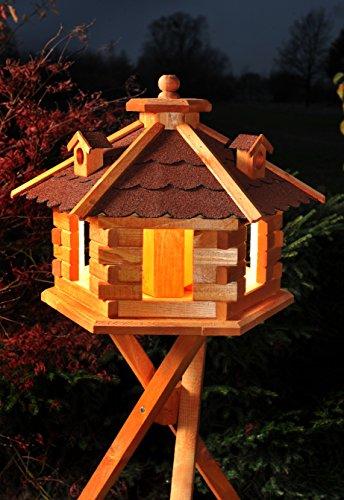 Vogelhaus Futterhaus Vogelvilla mit Solarbeleuchtung und Silo