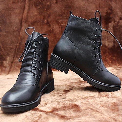&zhou Stivaletti donna autunno/inverno stivali stivali di cuoio piatto caldo moda di Martin marea avvio tempo libero black cotton