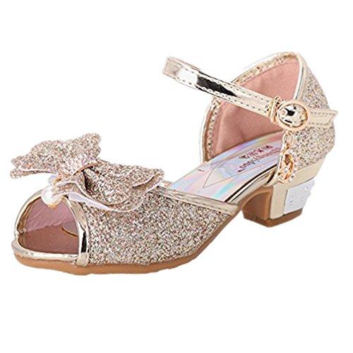 huhe Sandale Ballerina - Tyidalin mit Schmetterling und Paillette für Mädchen Kostüm Karneval Party Geburtstag Gold Gr.27 (Kinder Gold Schuhe)