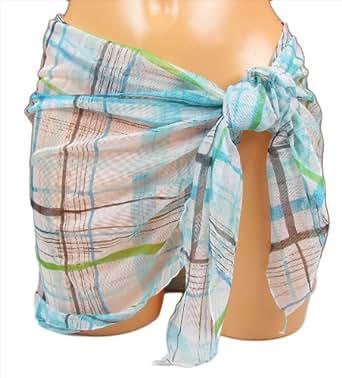 "BURBERRY ""Nova Check"" Femme pareo sarong carreaux transparent tulle (blanc/bleu clair) S"