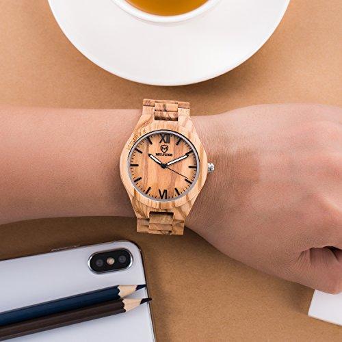 MUJUZE Herren Analoge Quarz Holzkern Armbanduhren mit Olivenholz Band und Leuchtendem Zeiger ME1001Olive Wood - 2