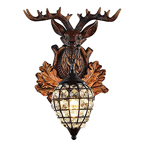 XUE Têtes de cerfs Antlers vintage Lampadaire en résine de style 1 Pays de la lumière, rural