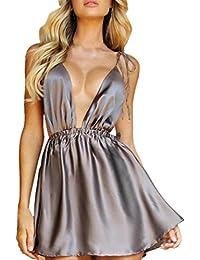 dc9ad742bc15 Ningsun Estive Moda da Donna Sexy Senza Maniche Scollo a V Profondo Senza  Schienale Bendare Camis Mini Vestito…