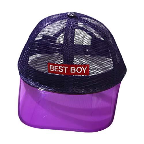 VIccoo Kind Kinder Kontrastfarbe Transparent Gebogene Baseballmütze mit breiter Krempe Atmungsaktives Mesh Buchstaben Aufnäher Hip Hop Snapback Sonnenhut 3-12T - 4 (7 11 Mitarbeiter Kostüm)