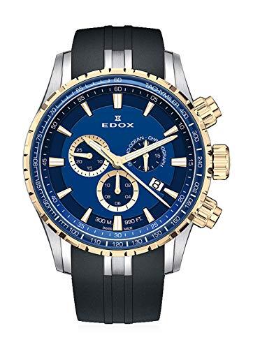 Edox Grand Ocean 10226 357JBUCA BUID - Reloj de Pulsera para Hombre, cronógrafo, Fecha, analógico, de Cuarzo