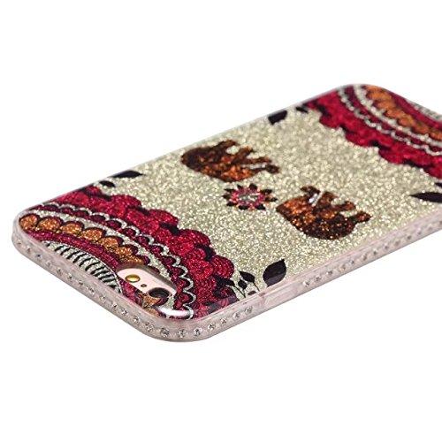 EKINHUI Case Cover Bling Sparkle Glitter Rhinestone Resin Diamant Schützende Rückseite Cover Case Soft TPU Shell Stoßfänger [Shock Absorbtion] für iPhone 6 & 6s ( Color : D ) C