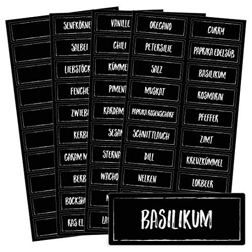 Chroma Products 76 Gewürzetiketten/Gewürzaufkleber - Kreideschrift-Optik - für Regale, Gläser oder Dosen - beschriftet, Selbstklebend, in schwarz oder weiß erhältlich, 5,2 x 2,0 cm, Farbe: SCHWARZ