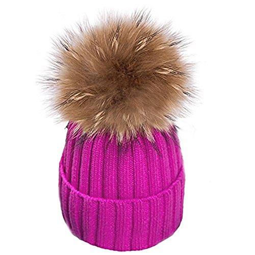 Warm Mütze Pelz Bommel Echtpelz Waschbär Ski-Mütze Fellbommel Pelzbommel Raccoon (hot pink)