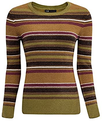 oodji Ultra Femme Pull Rayé avec Encolure Ronde, Multicolore, FR