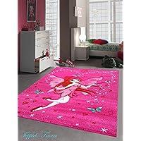 Moquette bambini bambini tappeto di gioco tappeto Zauberfee con le farfalle Pink Cream Rosso Turchese Größe 140x200