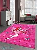Kinderteppich Spielteppich Kinderzimmer Teppich Zauberfee mit Schmetterlinge Pink Creme Rot