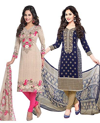 Ishin Women\'s Dress Material (Combodm-17005_Beige & Navy Blue_One Size)
