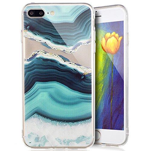 Custodia Cover iPhone 7 plus Silicone Morbido,Ukayfe Ultra Slim Protezione Corpeture Case per iPhone 7 plus in Gel TPU con Creativo Bella Pittura Disegno Acqua di Mare ,Soft Protettiva Custodia Brilla Onde 3#