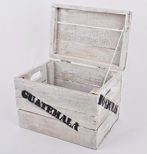 Holzkiste mit Deckel Süd Amerika Vintage-Used 20x34x24cm weiss