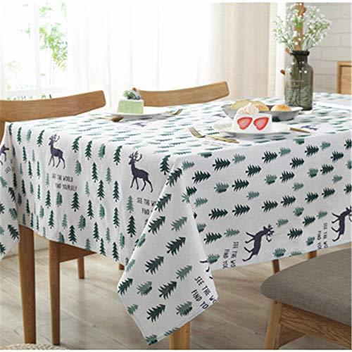 MMHJS Nordic Elch Baumwolle Leinen Tischdecke Weihnachtsbaum Tischdecke Staubdichtes Tuch Haushaltsdekoration Stoffbezug Handtuch A 90X90cm -