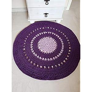 Teppich Häkelteppich Runderteppich Mandala 83 cm lila flieder