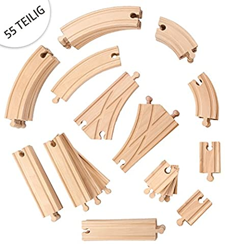55 Piece Wooden Train Railway Set / Expansion Pack, Compatible with All Major Brands