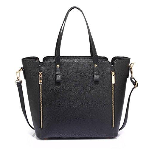 Reißverschluss mit Damen Groß Tragetasche Taschen Handtaschen LeahWard® Zwei Groß nett Schwarz Schulter 502 6fw7qT