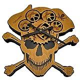 Holzwerk Germany Wanduhr Holz-Uhr Küchen-Uhr Vintage Wand-Uhr Tisch-Uhr aus handgefertigtem Natur Holz mechanische Zahnräder aus Holz Deko-Uhr Piraten Totenkopf Motiv