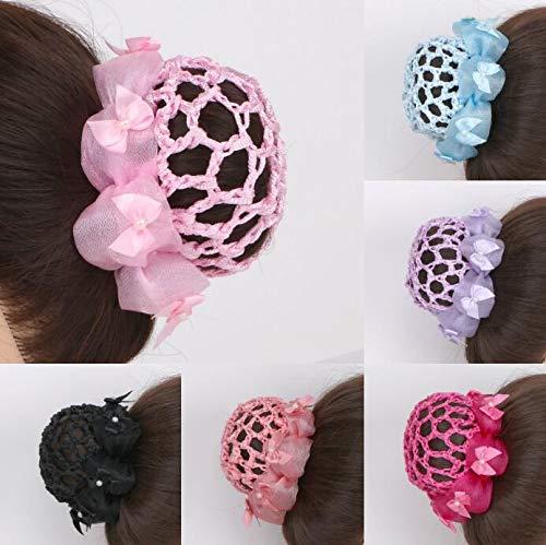 Haarnetz, für Mädchen, mit Schleife, für Ballett, Gymnastik, Tänzerin, Haarnetz, 6 Stück