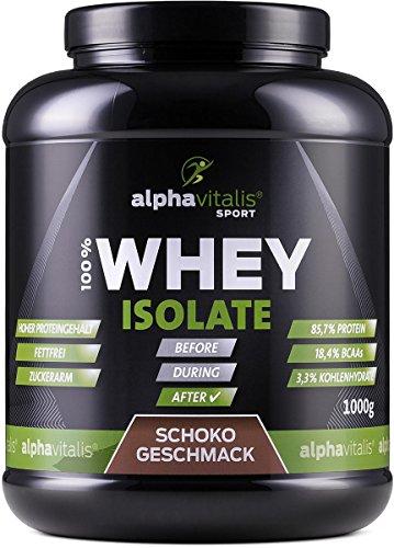Whey Protein Isolat Schoko - H²O-optimiert - 85,7% Protein! - Zuckerfrei - Fettfrei - 1000g - WPI ohne Aspartam oder Cyclamat EINWEG