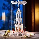 Spielwerk Piramide di Natale in Legno 4 Piani XL Girevole Decorazione di Natale addobbi Natalizi Bianco